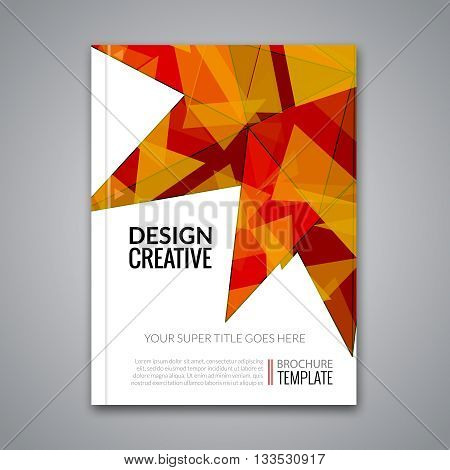 Cover report orange colorful triangle geometric prospectus design background, cover flyer magazine, brochure book cover template layout, vector illustration.