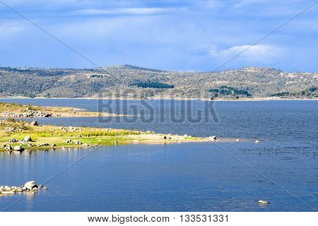 Lake Jindabyne foreshore on an autumn (fall) afternoon in Australia
