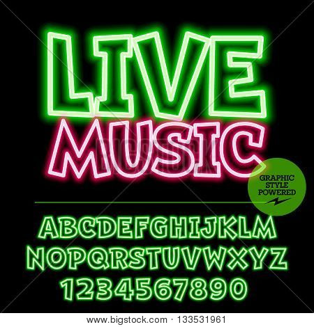 Neon bright set of alphabet letters, numbers and punctuation symbols. Vector light up colorful emblem with text Live music