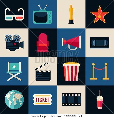 Movie Concept. Set of Flat Style Vector Icons 3D glasses Movie Theater Movie Projector Popcorn Cinematic Award Movie Premiere