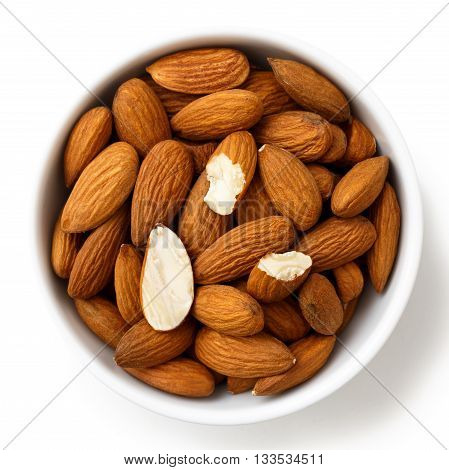 Bowl Of Whole And Broken Almonds Isolated On White From Above.