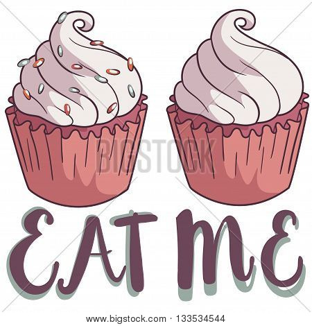 Hand Drawing Cupcake With The Lable: Eat Me