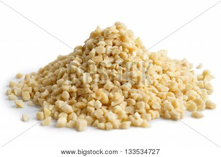 Pile Of Peeled Chopped Almonds Isolated On White.