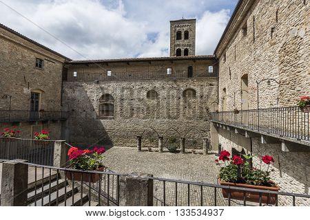 Monastero Bormida Italy - May 29 2016: Courtyard of castle of Monastero Bormida in Piedmont Italy
