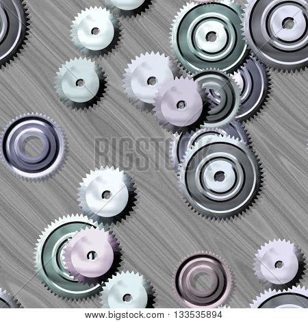 Sprockets on metal background - abstract illustration