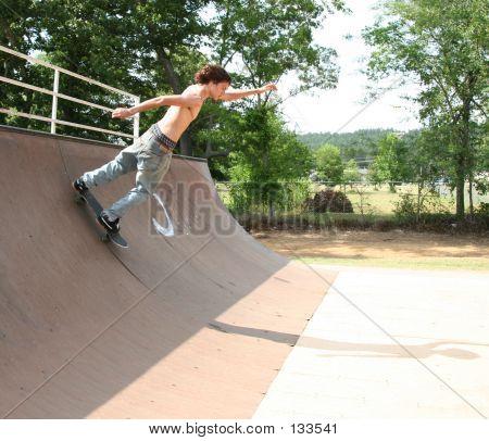 Skateboarder Turning