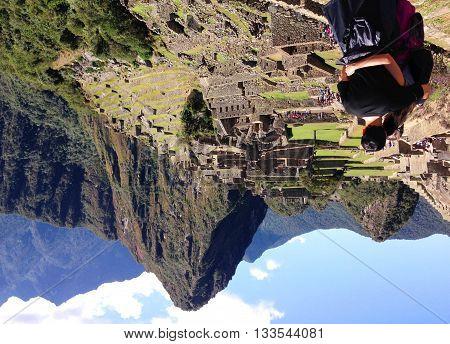 Vista espetacular da cidade perdida de Machu Picchu, Cusco no Peru