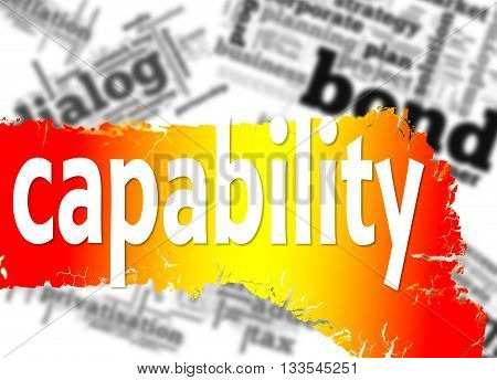 Word cloud with capability word image, 3D rendering
