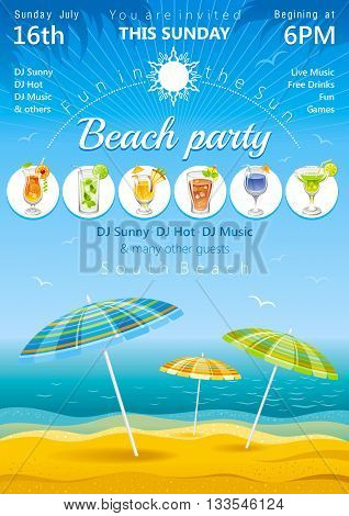 Day beach poster with umbrellas and cocktail icons