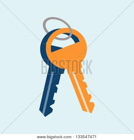 Vector icon key. house turnkey. turnkey illustration. House turnkey Flat design style.