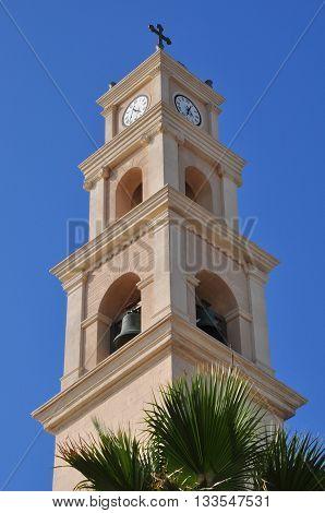 Belfry of St.Peter`s church in old Jaffa. Israel.
