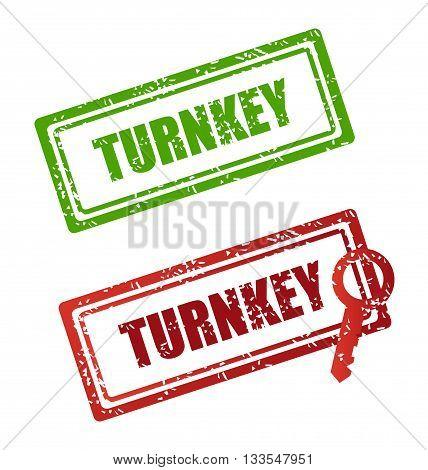 Vector icon stamp. stamp turnkey. stamp turnkey illustration. stamp turnkey Flat design style.