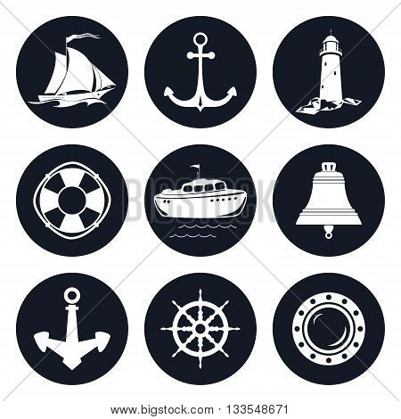 Set of Round Marine Icons, Sailing Vessel and Anchor, Ship Wheel and Lifebuoy, Lifeboat and Porthole, Ship Bell and Lighthouse, Nautical Symbol, Ship Equipment, Vector Illustration