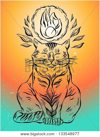 Hand drawn vector yoga cat with hand mudra.Cat illustration.Yoga Cat . Vector Cat. Cartoon Cat. Meditation.