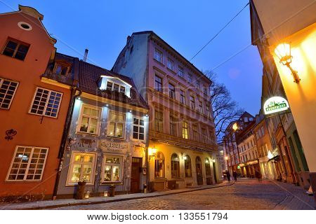 RIGA, LATVIA - MARCH 10: Houses in the Old Town of Riga on March 10, 2015 in Riga, Latvia. Old Town is the most popular touristic place in Riga.