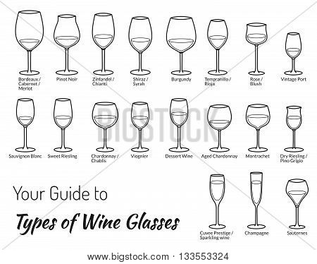 Set of wine glasses in modern mono line. Wine glasses icons. Wine glasses web Wine glasses art Wine glasses big Wine glasses app. Wine glasses new. Wine glasses set. Wine glasses set new art.