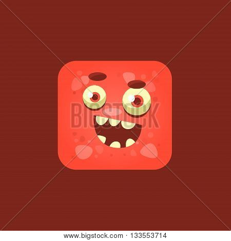 Cheeky Red Monster Emoji Icon. Creative Vector Emoticon Alien Monster Face. Cartoon Monster Character Square Button Drawing.