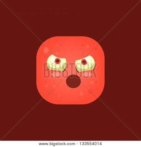 Pissed Off Red Monster Emoji Icon. Creative Vector Emoticon Alien Monster Face. Cartoon Monster Character Square Button Drawing.