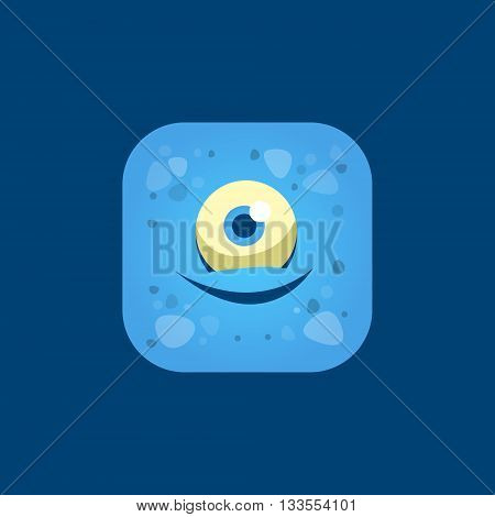 Pleased Blue Monster Emoji Icon. Creative Vector Emoticon Alien Monster Face. Cartoon Monster Character Square Button Drawing.