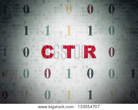 Finance concept: Painted red text CTR on Digital Data Paper background with Binary Code