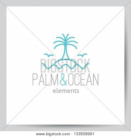 summer logo for travel agency or hotel. Palm, seagulls, island and waves on white background, single line design