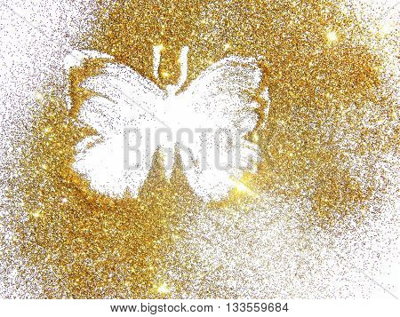Butterfly of gold glitter on white background
