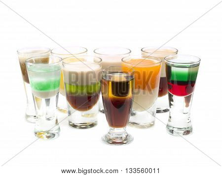 Large group of cocktail shots isolated on white background