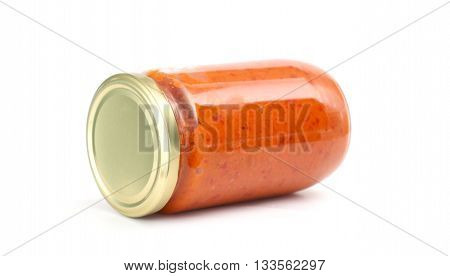 Picture of a Traditional Meacedonian food. Ajvar in jar . homemade product