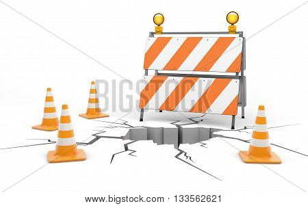 Under cunstruction. Roadblock and cones isolated on white with clipping path, 3d rendering