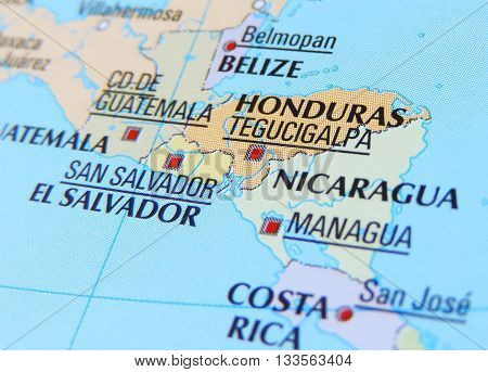 Central America,with focus on Honduras, road map or globe.