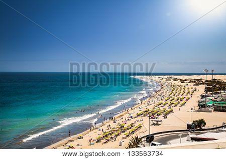 Panoramic view of beautiful Maspalomas beach in Gran Canaria. Spain.