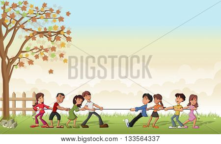 Green grass landscape with children playing Tug Of War