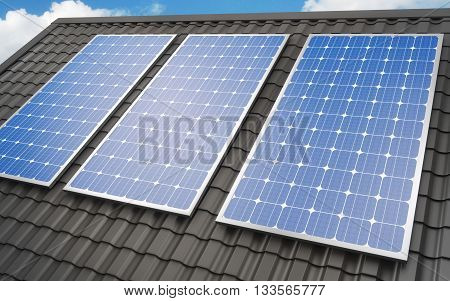 Solar energy panels installed on roof, 3d rendering
