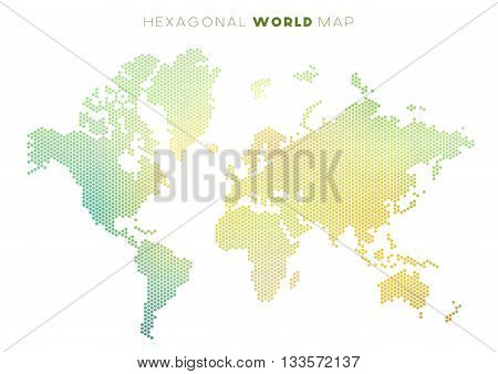 Vector abstract world map made of small colourful hexagons, green and yellow