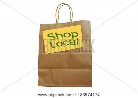 Shop Local word on paper bag isolated on white background