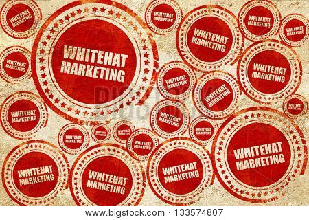 whitehat marketing, red stamp on a grunge paper texture