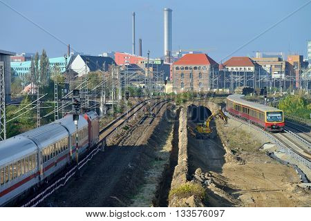 BERLIN OCTOBER 27: Construction of a new train station on October 27 2014 in Berlin Germany. The U-Bahn serves 170 stations spread across ten lines with a total track length of 151.7 km.