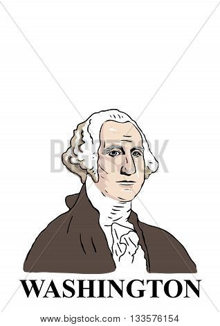 A hand drawn cartoon style illustration of the first American president: George Washington.