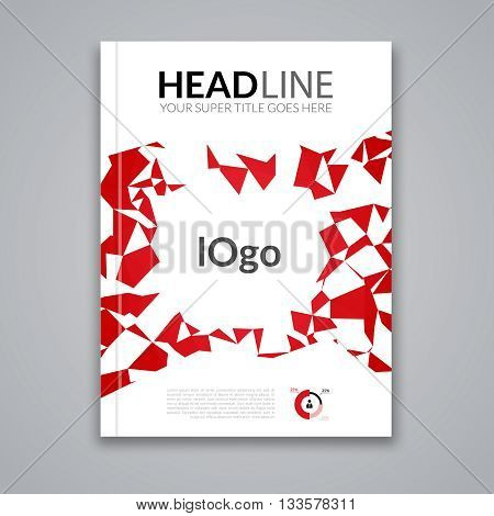 Cover report colorful red triangle geometric prospectus design background, cover flyer magazine, brochure book cover template layout, vector illustration.