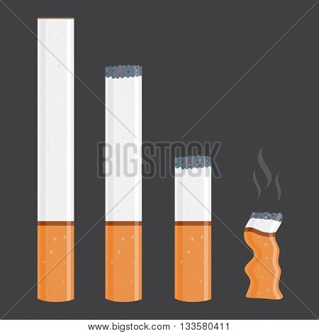 Vector stock of cigarettes in different size new and burnt