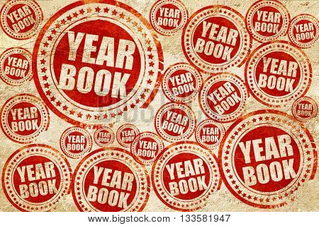 yearbook, red stamp on a grunge paper texture