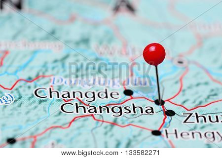 Changsha pinned on a map of China