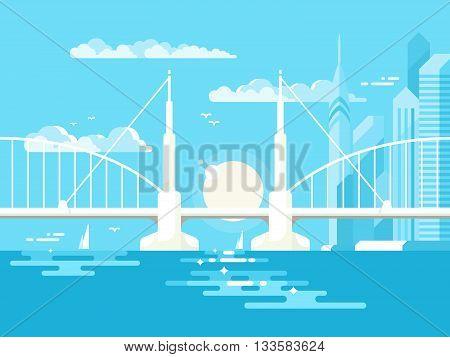 Modern bridge design flat. Architecture urban for transportation. Vector illustration