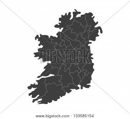map of ireland with regions illustrated on a white background