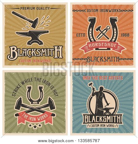 Blacksmith retro icon set with descriptions of custom ironworks strike while the iron is hot only the best artists vector illustration