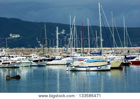 Montenegro, Herceg Novi - 17.05.2016: Boats in the harbor. City port in the district Square in city of Herceg Novi.
