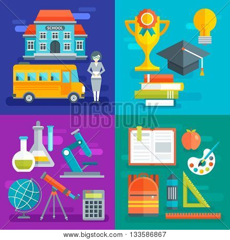 School flat compositions with building bus and teaching staff learning progress scientific disciplines stationery isolated vector illustration