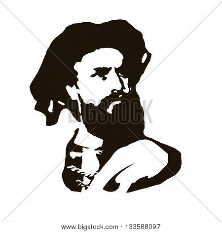 Marco Polo. vector portrait great discoveries and travel