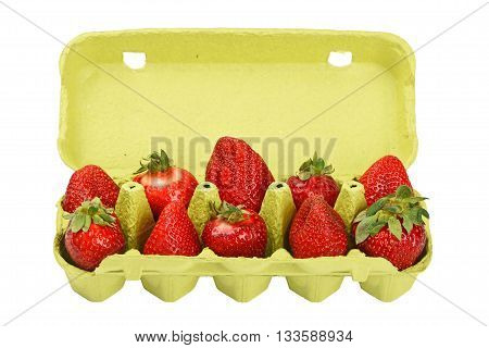 Strawberry In Open Green Egg Carrier Over White