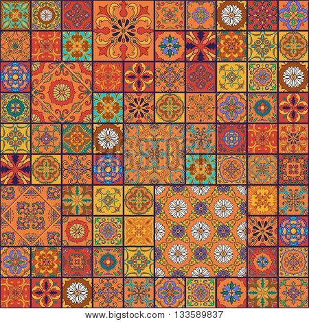 Vector seamless texture. Beautiful mega patchwork pattern for design and fashion with decorative elements. Portuguese tiles Azulejo Talavera Moroccan ornaments in blue and orange colors poster